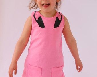 Trendy DJ Headphones Girls Dress / Baby - Toddler Girls Music Fan Outfit Pink Girls Dress Outfit / Girls Gift Idea