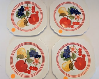 4 - Pc. Set Of 1950's Rivera Style Mixed Fruit Dessert Plates By Blue Sky