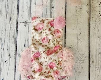 Floral Romper - Baby Romper - Floral Girls Sunsuit - Baby Bubble Romper - Vintage floral romper- Ruffle Romper - Romper - Vintage inspired