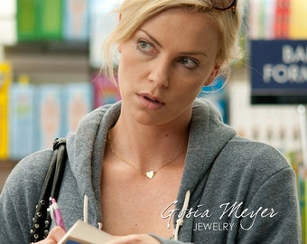 Charlize Theron Replica Heart Necklace, Gold Heart Necklace, 14kt Gold Filled Heart on Delicate Gold Filled Chain