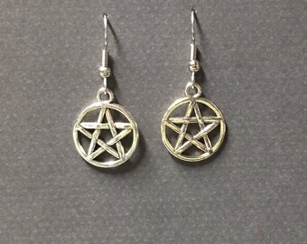 Silver Pentagram Earrings-Sterling or Silver plate hook-Pentacle earring-Pentagram dangles-Wicca-Pagan-Occult-Goth-Witchy Earring-Witchcraft