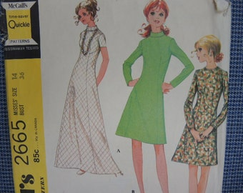 vintage 1970s Simplicity sewing pattern 2665 misses dress in three versions size 14