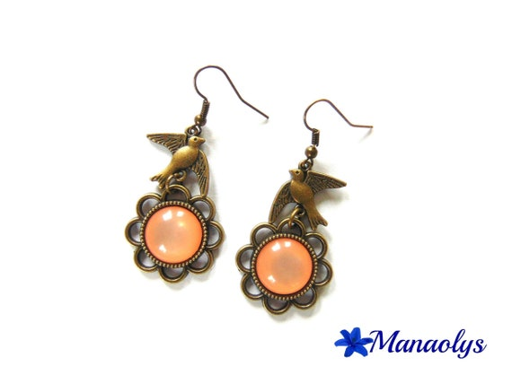 Vintage bronze flower cabochon earrings bright coral color resin, bronze birds
