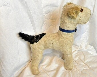 "Antique Mohair Dog - 12""  Terrier from the 1930's"