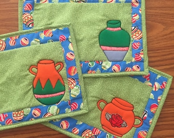 Jarritos, Mexican Pottery Reversible Placemats, Quilted Placemats, Kitchen Decor, Table Linens
