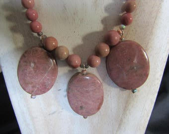 Necklace natural rhodochrosite - anti-stress stone which releases fears