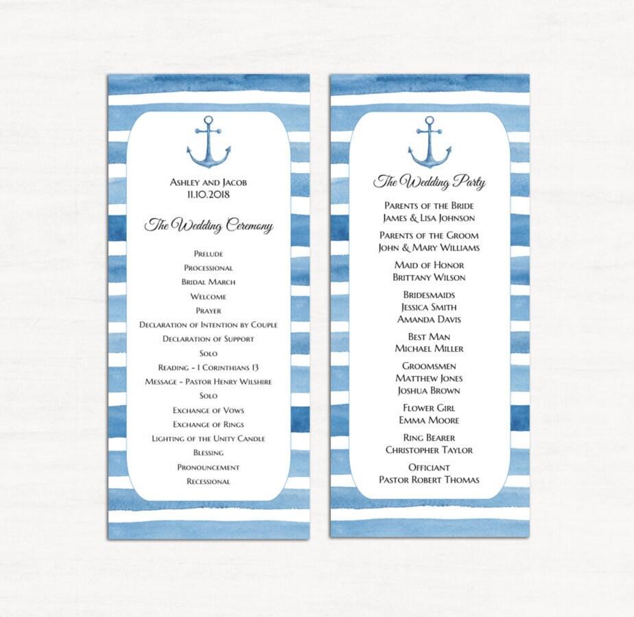 Nautische Hochzeit Programm Vorlage Hochzeit am Strand