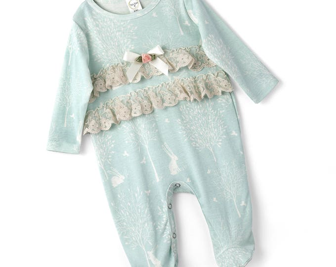 SPRING SALE! Baby Girl Footie Romper, Newborn Girl Footie Romper, Newborn Long Sleeve Baby Romper, Ruffles, Green Bunny Outfit, TesaBabe