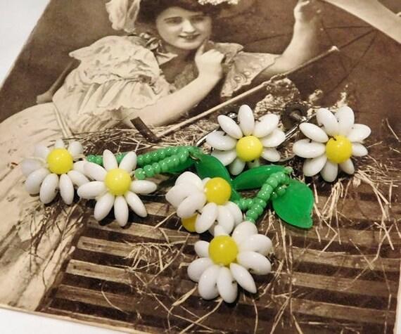 West Germany Glass Earrings / Daisy / Milk Glass / Mid Century