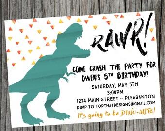 Dinosaur Birthday Invitation- Digital