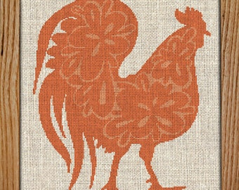 30% off when you buy 2 or more patterns / Modern Cross Stitch Pattern / PDF Chart Instant Download / ROOSTER / FREE Shipping / Rooster Decor