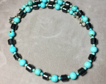 "19"" Turquoise Howlite and Hematite Gemstone Necklace"