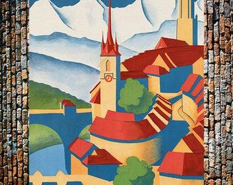 Berne Switzerland Travel Art, Vintage Art Deco,Swiss Travel Ad, Switzerland Ad, Vintage Art, Giclee Art Print, fine Art Reproduction