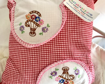 Red gingham pillow, vintage embroidery, flowers, cottage charm, kitchen pillow, accent pillow, floral embroidered pillow, throw pillow