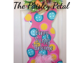 READY TO SHIP! Easter Bunny Front Door Hanger, Easter Decoration