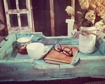 Ottoman tray ~ Farmhouse ~ Rustic ~ Tray ~ Coffee Table Tray ~ Wooden Tray ~ Serving Tray ~ Home Decor ~ Country Tray ~ Breakfast Tray ~