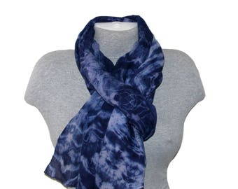 Boho Blue Cotton Scarf Gift Wife Shibori scarf Hand Painted Cotton Scarves Women Hand dyed scarf Mother Birthday inspirational gifts for Mom