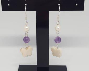 Butterfly Earrings - Amethyst / White Freshwater Pearl / White Shell Butterfly - 925 Sterling Silver Drop Earrings - Uk seller