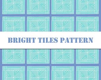 Blue Tiles Pattern Digital Patterm / Digital Art