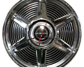 1965 Ford Mustang Hubcap Clock - Hub Cap Wall Decor - Industrial Art - Unique Wall Clock