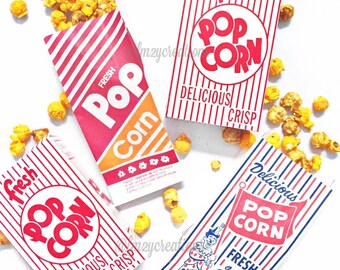 POPCORN BAGS--(50) Retro Vintage Popcorn Bags Favor: Circus Party, Carnival Party, Baseball Party, Movie Night, Slumber Party, Scrapbooking