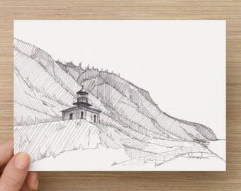 Ink drawing of Lighthouse on the Lost Coast Trail in Northern California - Sketch, Landscape, Architecture, Pacific Coast, 5x7, 8x10, Print