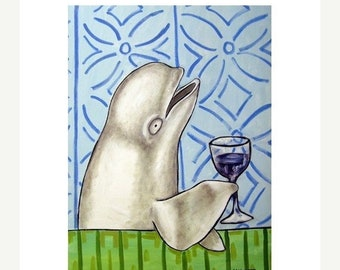 25% off Beluga Whale at the Wine Bar Art Print