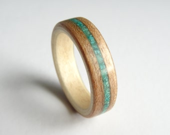 Bent Wood Ring - Cherry lined with Sycamore and a Crushed Turquoise Inlay Band, Handmade to Any UK or US Size