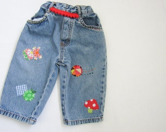 Baby Jeans - Embellished patched embroidered jeans - baby clothes - 9-12mths