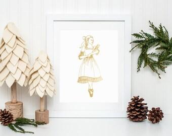 Gold Foil Clara Christmas Print (8x10 or 5x7)