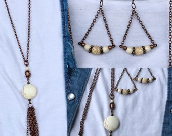 Handmade white howlite and turquoise earring and necklace set. Copper long tassel necklace and dangle earring set.