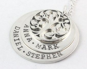 Tree of Life Necklace - Custom Necklace - Personalized Necklace - Family Necklace - Sterling Silver Necklace - Christmas Gift for Mom