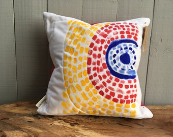 """Alma Thomas Inspired Pillow, Decorative Pillow, Throw Pillow 16""""x16"""", Hand-Painted Pillow Cover, Includes Insert, Ready to Ship"""