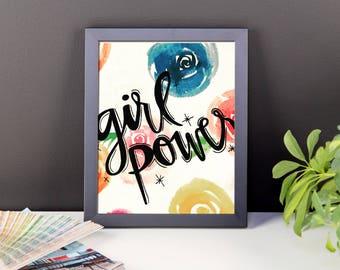 """framed floral """"girl power"""" print"""
