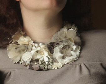 Floral Fabric Neckpiece with Pearl Beads and Vintage Brooch