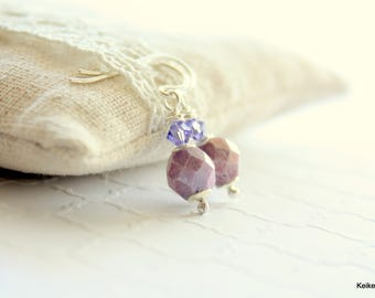 Purple Earrings , Drop Earrings , Glass and Crystal , March of Dimes Jewelry , March for Babies
