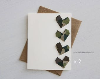 2 origami love cards || origami heart greeting cards || military wedding cards || anniversary cards || A2 card with envelopes -4 camo hearts