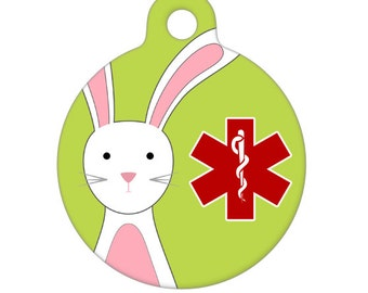 Medical Id Tag - Bunny Medical Alert Pet Tag, ID Tag, Child ID Tag, Dog ID Tag