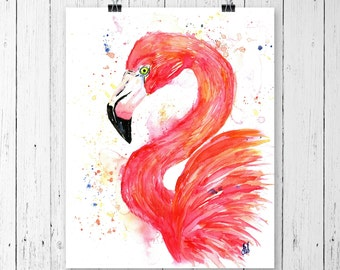 FLAMINGO PRINT, flamingo art, flamingo watercolor, flamingo painting, tropical art, tropical print, bird art, bird watercolour, bird print