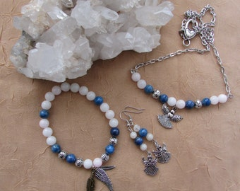 Gemstone Angel Jewelry - Protection and Clear Your Path Crystal Bead Jewelry Set