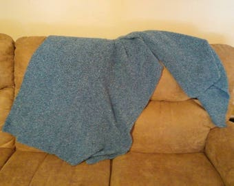 Large blue rectangle shawl
