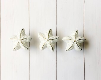 Nautical Pulls ~ Beach Cabinet Knob ~ Starfish Knob ~ Coastal Drawer Pull ~ White Beach Knob ~ Beach Bathroom