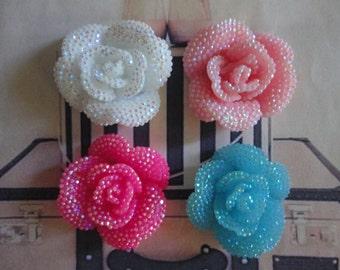 Kawaii candy rose cabochons decoden deco diy charms  4 pcs---USA seller