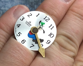 fun vintage goofy watch face ring -  Mechanical Romance line