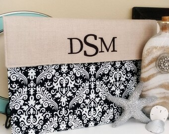 """15 Macbook Case, Monogram 15 Laptop Case, 15"""" computer case, Personalized HP Case, Dell Laptop Case, Gifts for Her, Black Damask and Linen"""