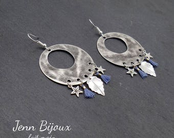 Retro blue and Silver earrings-tassel, leaf and Star