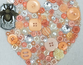 Bee Mine II button art steampunk accents peach and off-white