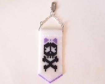 Handmade Skull and Crossbones Decorative Zipper Pull; Skull with Bow and Crossbones; Peyote strip skull and crossbones