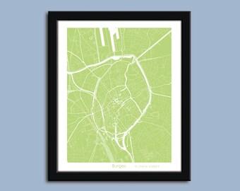 Bruges map, Bruges city map art, Bruges wall art poster, Bruges decorative map