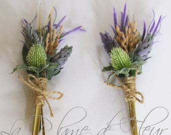 Rustic Buttonhole, Boutonniere - Country Garden style buttonhole, wheat, thistle and lavender wildflowers.  Groom, groomsmen wedding flowers